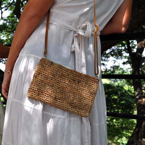 Banana Fiber Cross Body Clutch. Common Textures. New Labels Only