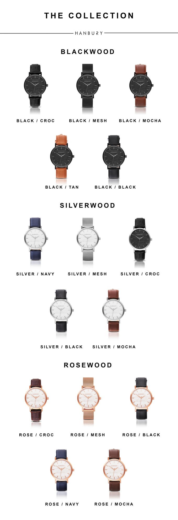 The collection. Hanbury Watches. New Labels Only