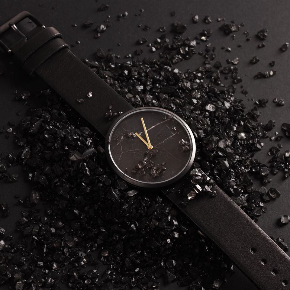 Gold hands with black marble dial. Maven Watches