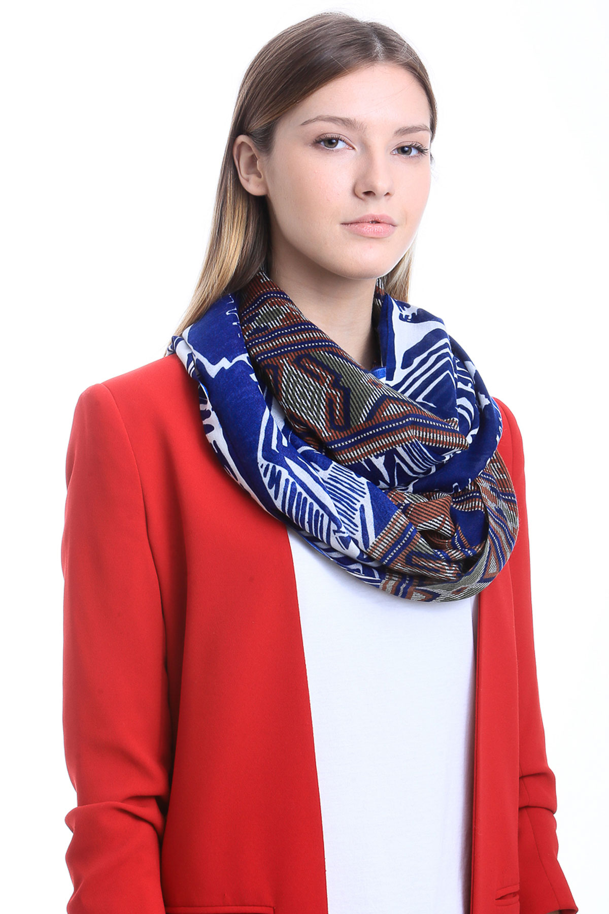 Infinite loop. Multicoloured Bohemian Luxurious Women's Scarves By Alber Zoran